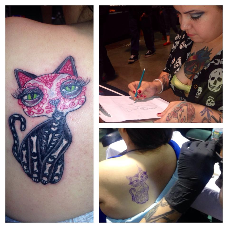 Day of the Dead Cat Tattoo