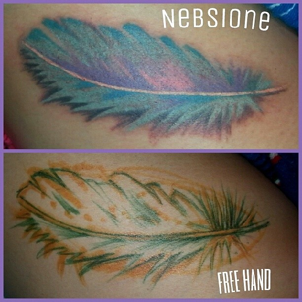 Freehand Feather Tattoo