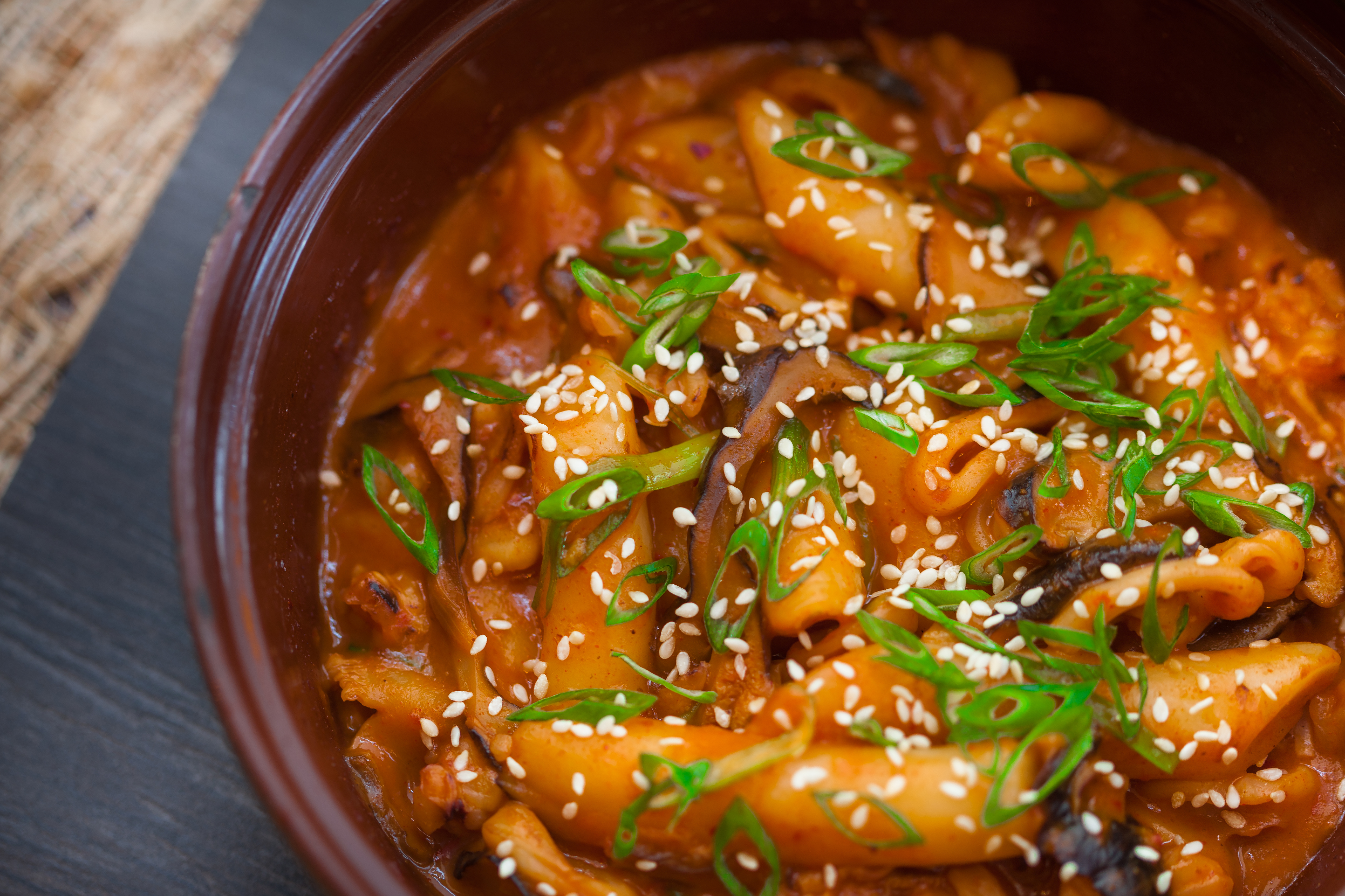 Spicy Korean Style Rhode Island Squid with Rice Cakes